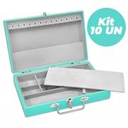 Kit 10  Maletas / Porta Joias Médio - Tiffany Blue / Cinza
