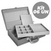 Kit com 6 Maletas / Porta Joias Grande Duplo - Chumbo