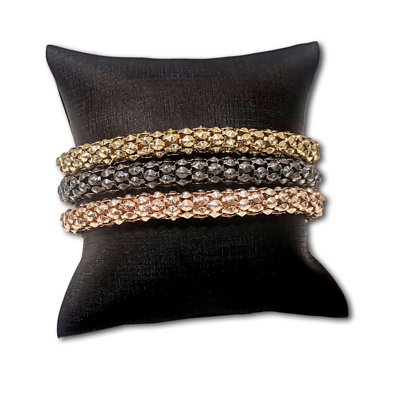 Almofada  para pulseiras ou relógios em Couro Sintético Preto