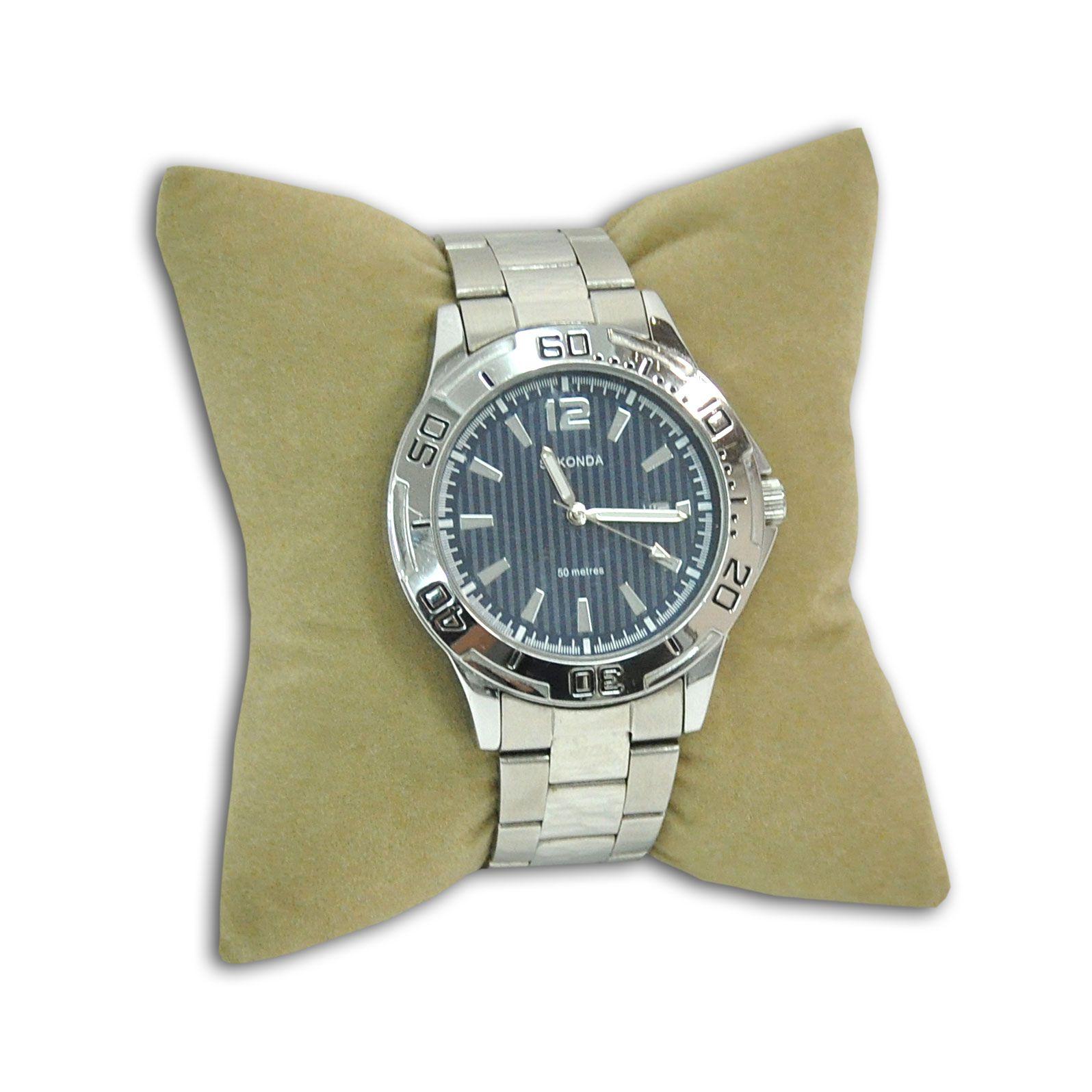 Almofada para pulseiras ou relógios em veludo bege