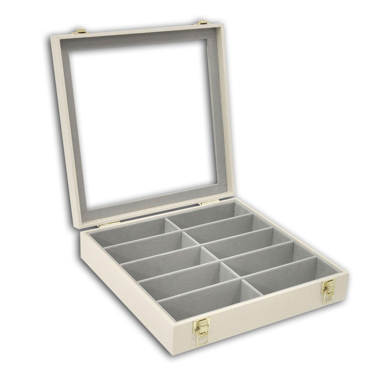 Estojo / Porta óculos para 10 óculos com expositor em vidro - Bege Perolizado / Cinza