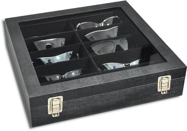 Estojo / Porta óculos para 10 óculos com expositor em vidro - Preto / Preto