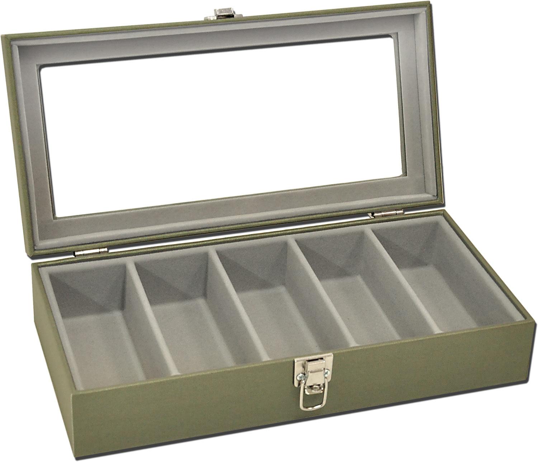 Estojo / Porta óculos para 5 óculos com expositor em vidro - Verde Militar / Cinza