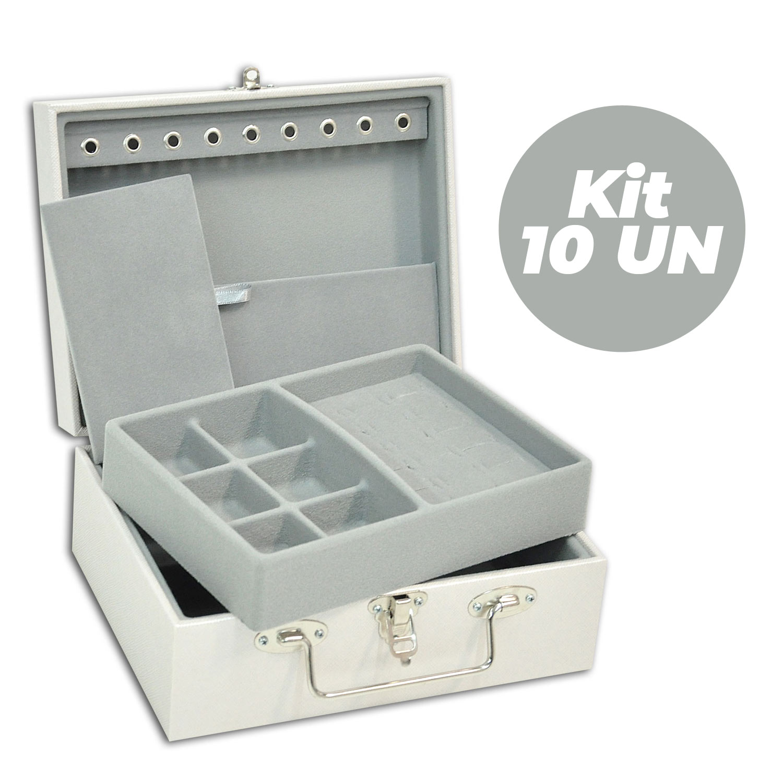Kit com 10 Maletas / Porta Joias Pequeno Duplo - Perolizado / Cinza