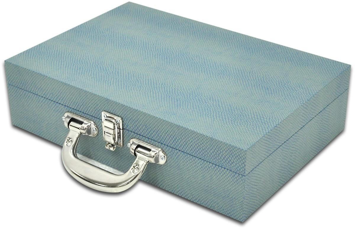 Maleta / Porta Joias Grande Duplo - Azul Estonado / Cinza