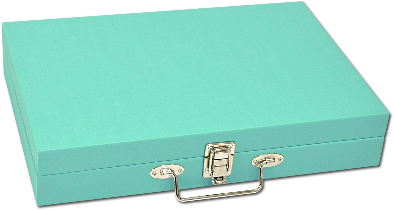 Maleta / Porta Joias Grande - Tiffany Blue / Cinza