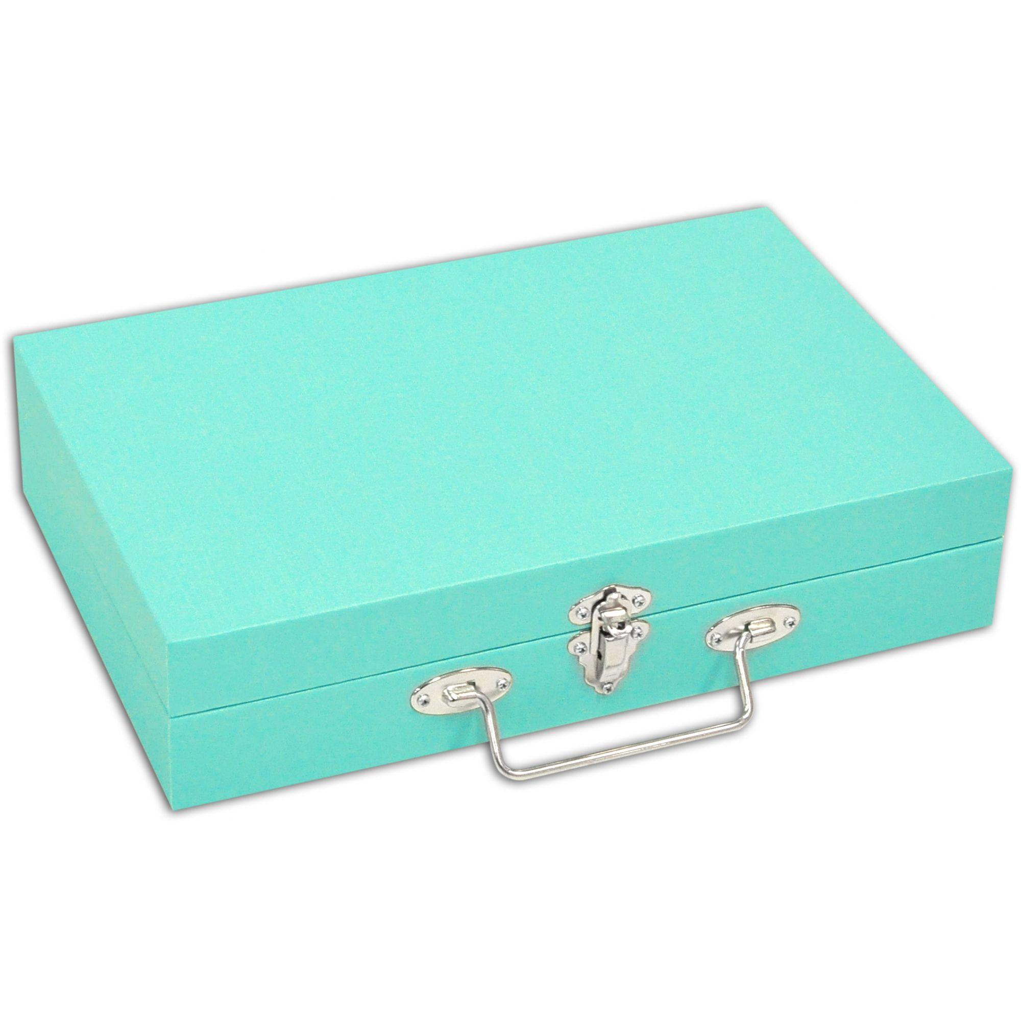 Maleta / Porta Joias Médio - Tiffany Blue / Cinza