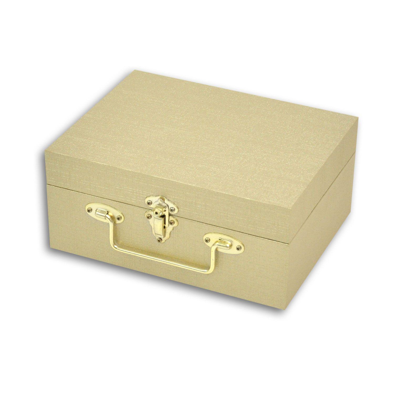 Maleta / Porta Joias Pequeno Duplo - Dourado / Marrom