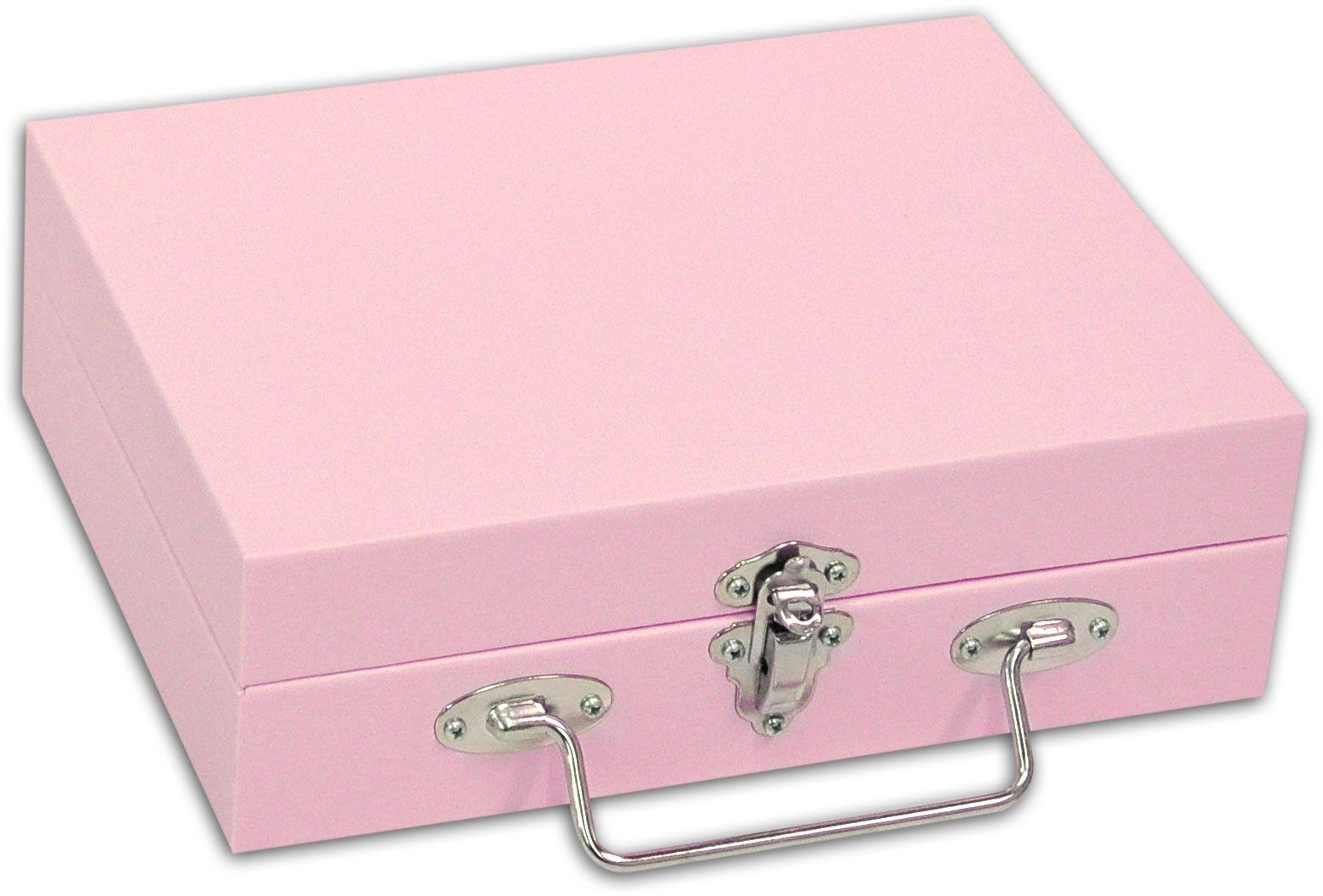 Maleta / Porta-Joias Pequeno - Rosa bebê / Cinza