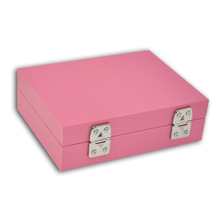 Maleta / Porta-Joias Pequeno - Rosa Chiclete / Cinza