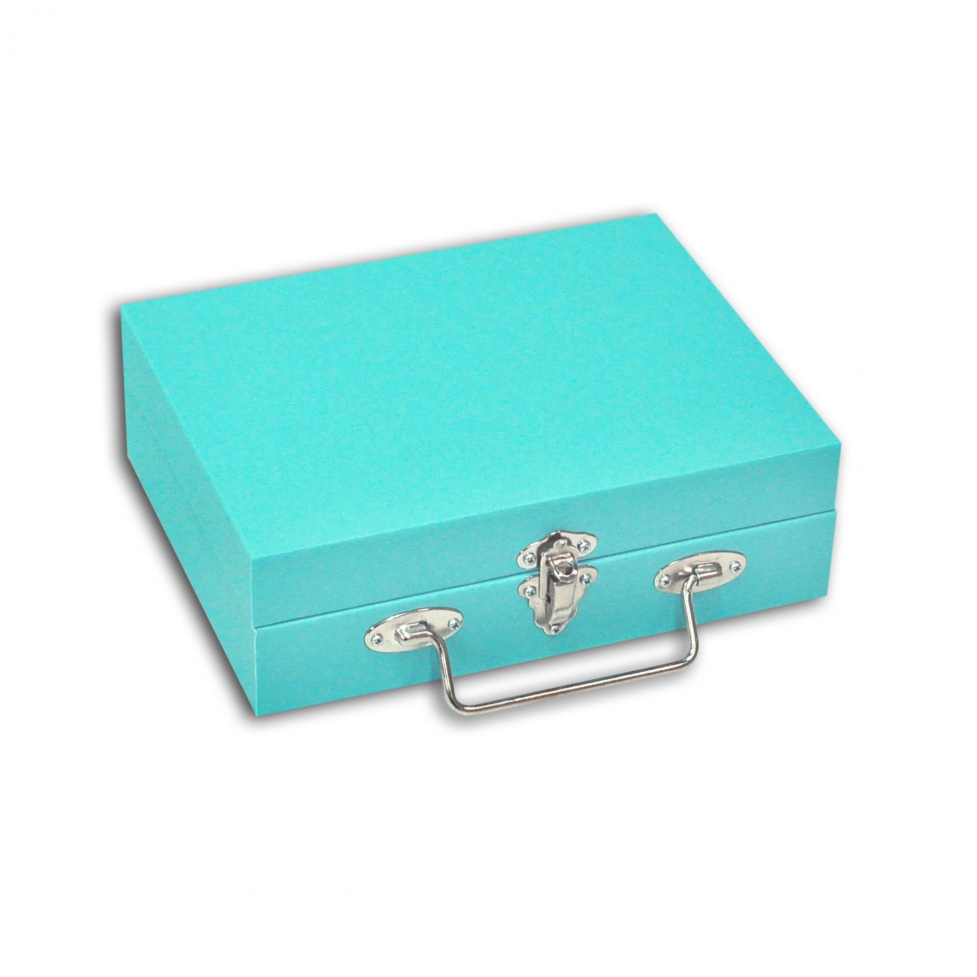 Maleta / Porta-Joias Pequeno - Tiffany Blue / Cinza