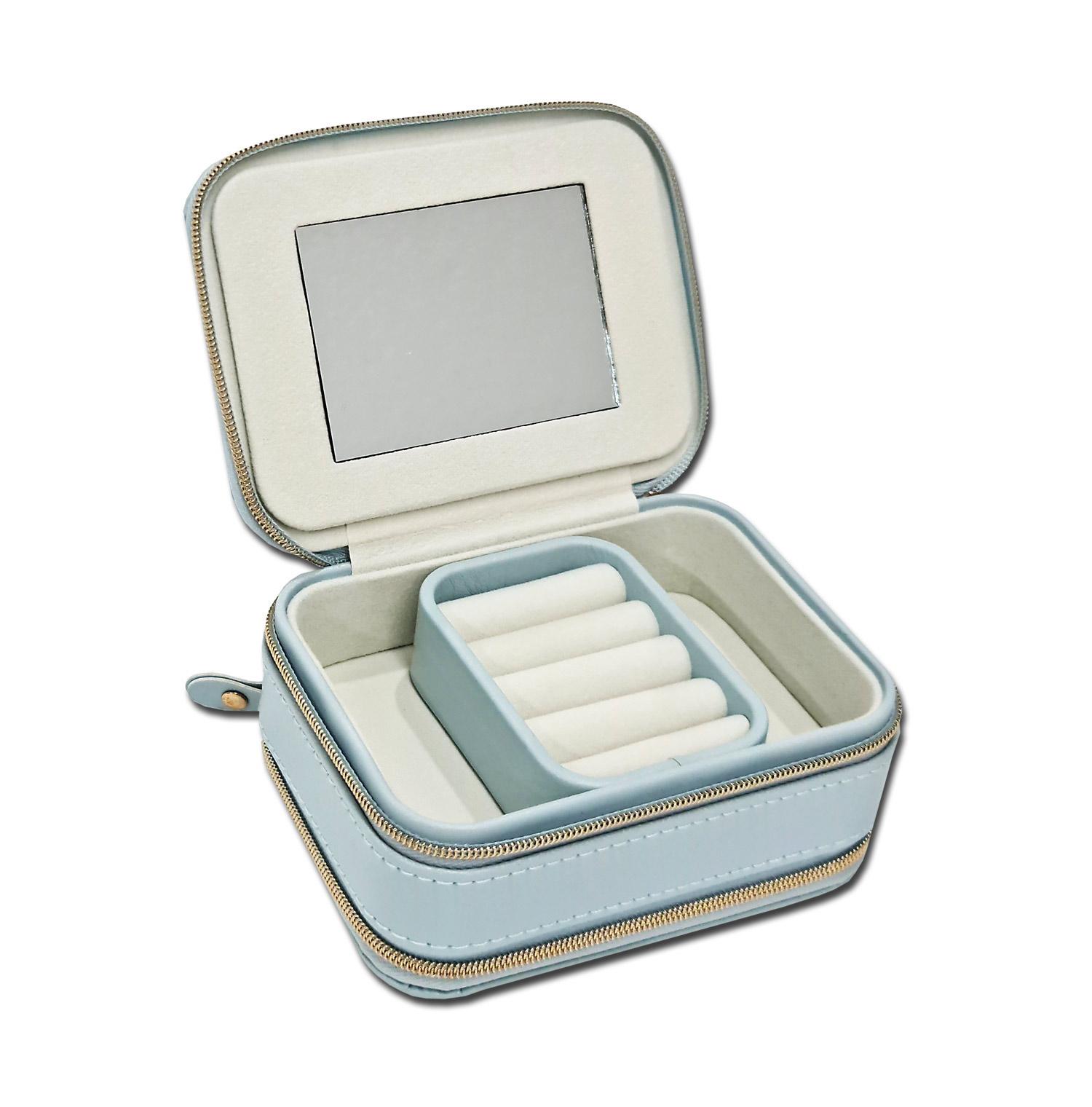 Mini Porta-Joias duplo retangular - Azul bebê / Marfim