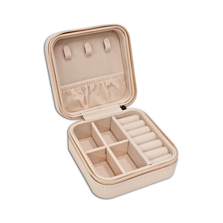 Mini Porta-Joias quadrado - Bege / Rosê
