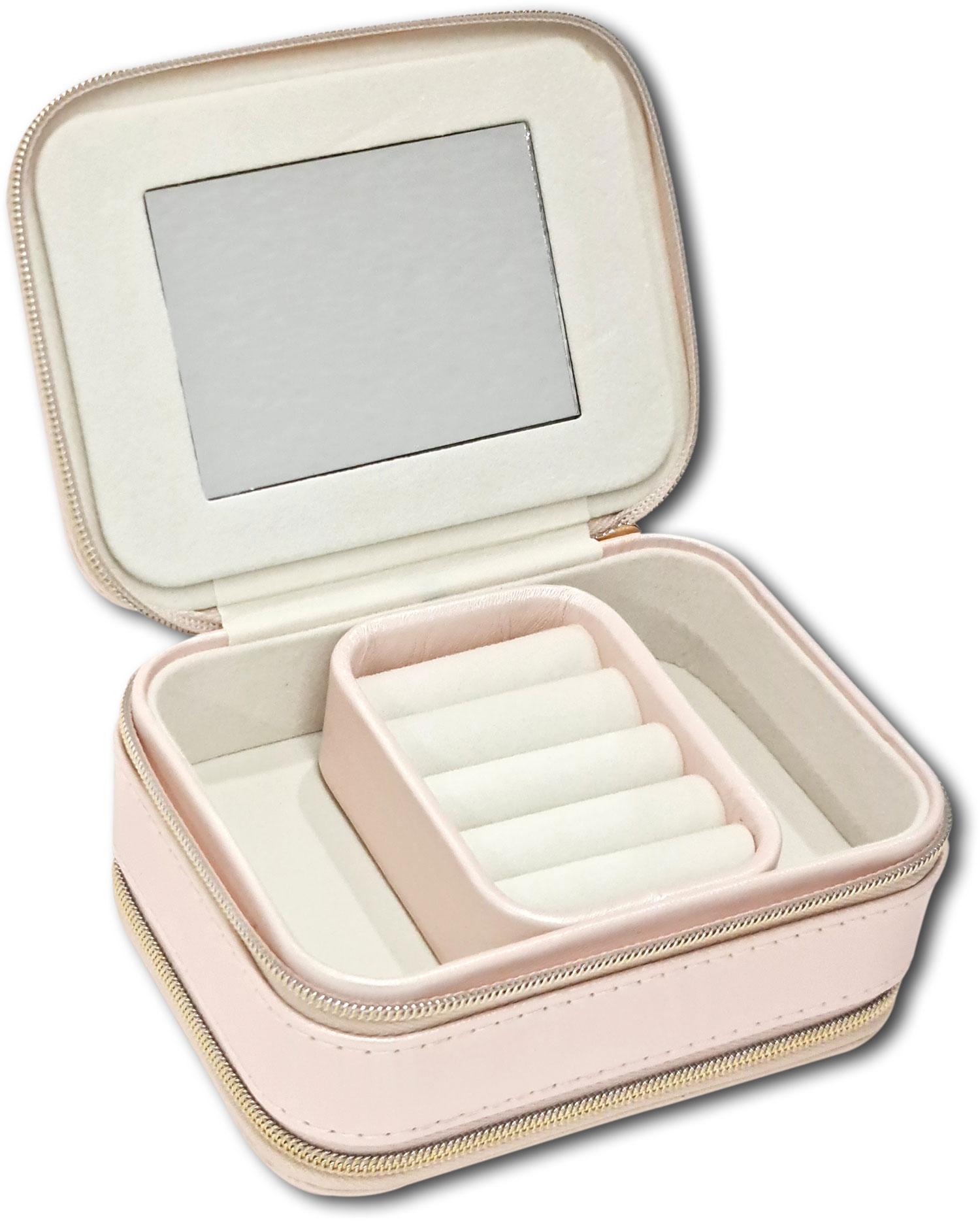 Mini Porta-Joias duplo retangular - Rosa bebê / Marfim