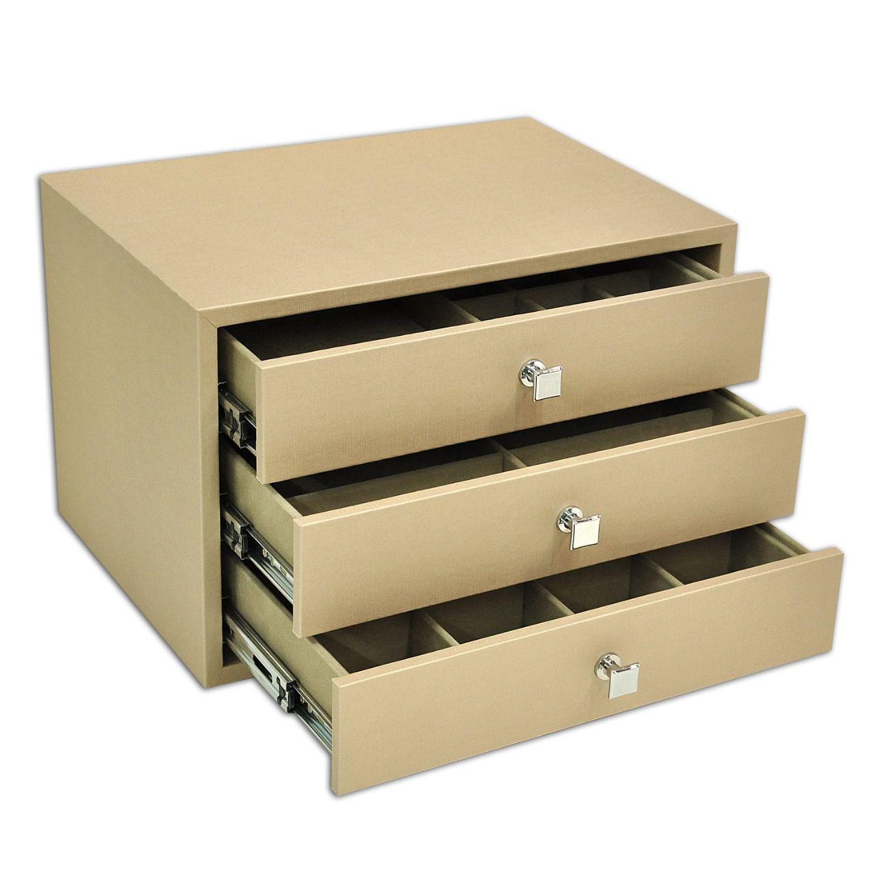 Móvel Porta-Joias com 3 gavetas - Dourado / Bege