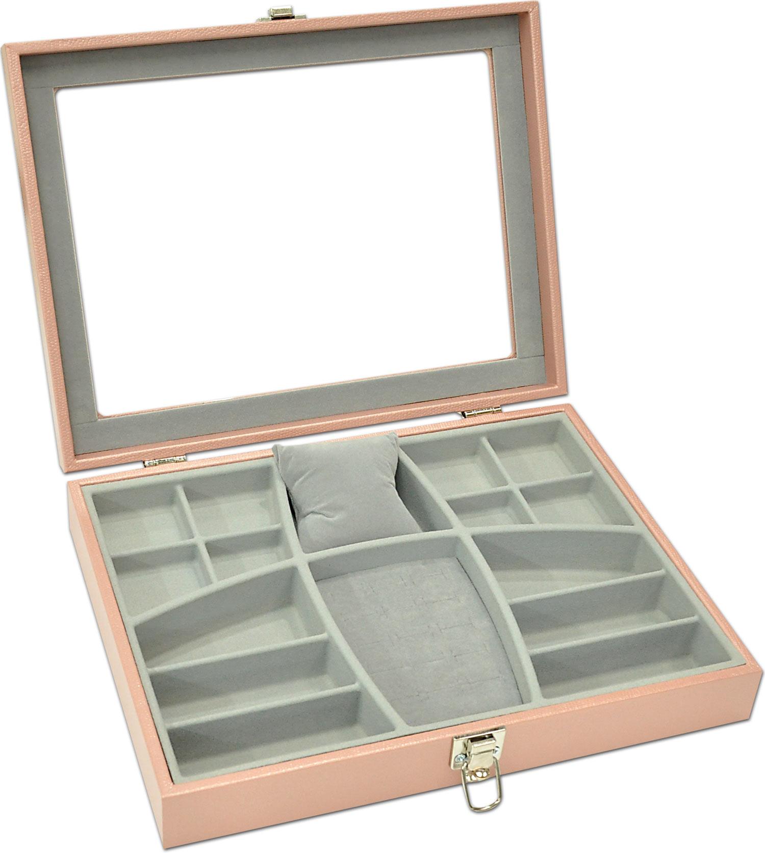 Porta-Joias modelo Luxo - Rosê / Cinza