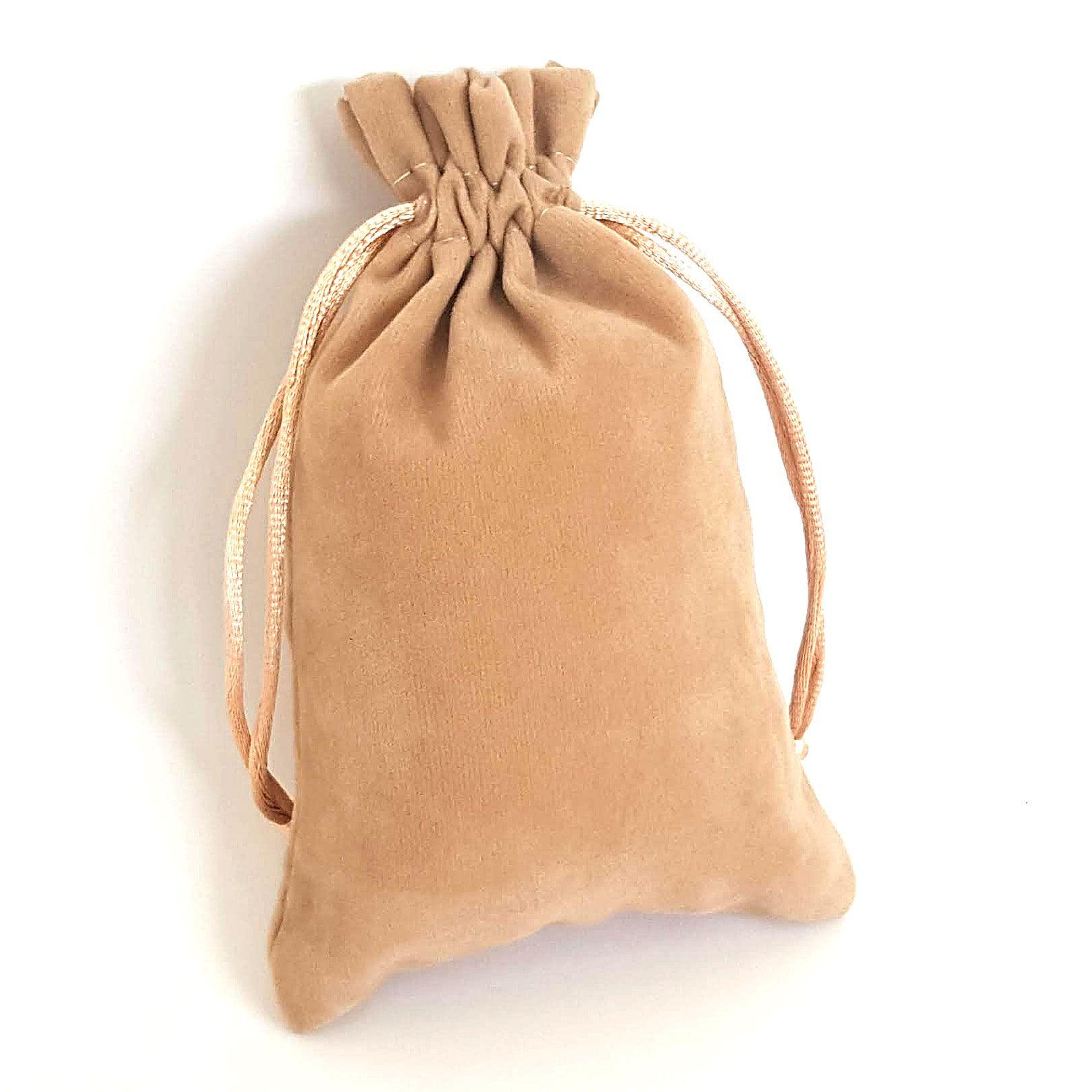 Saquinho aveludado 7 x 10 cm - Qualidade excepcional - Caramelo - Pct 10 un