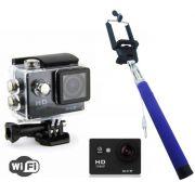 Camera SportsWifi Filma Hd Prova D'agua + Bastão Selfie