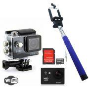 Camera Sportswifi Filma Hd Prova D'agua + Bastão Selfie+Cartão32GB