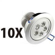 Kit 10 Spot Super Led Direcionável 5w P/ Teto Sanca E Gesso