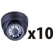 Kit 10  Camera Dome Ccd Infra Vermelho 24 Led 700l