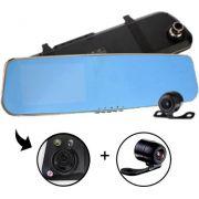 Espelho Retrovisor Tela 4,3 Lcd + Câmera Frontal + Câmera Ré - ILIMITI SHOP