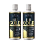 Kit Shampoo + Condicionador Alisante Blue Gold  500 ml  + BRINDE