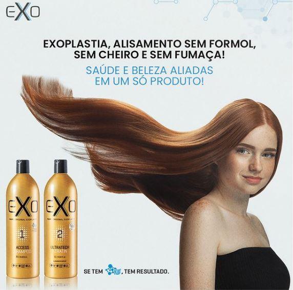 Exo Hair Alisamento Exoplastia Capilar 2x500ml + Leave On