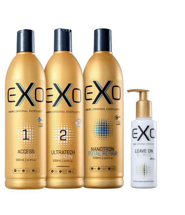 Exo Hair  Kit Exoplastia Capilar Progressiva Sem Formol + Mascara Nanotron + Leave on Nano Repair