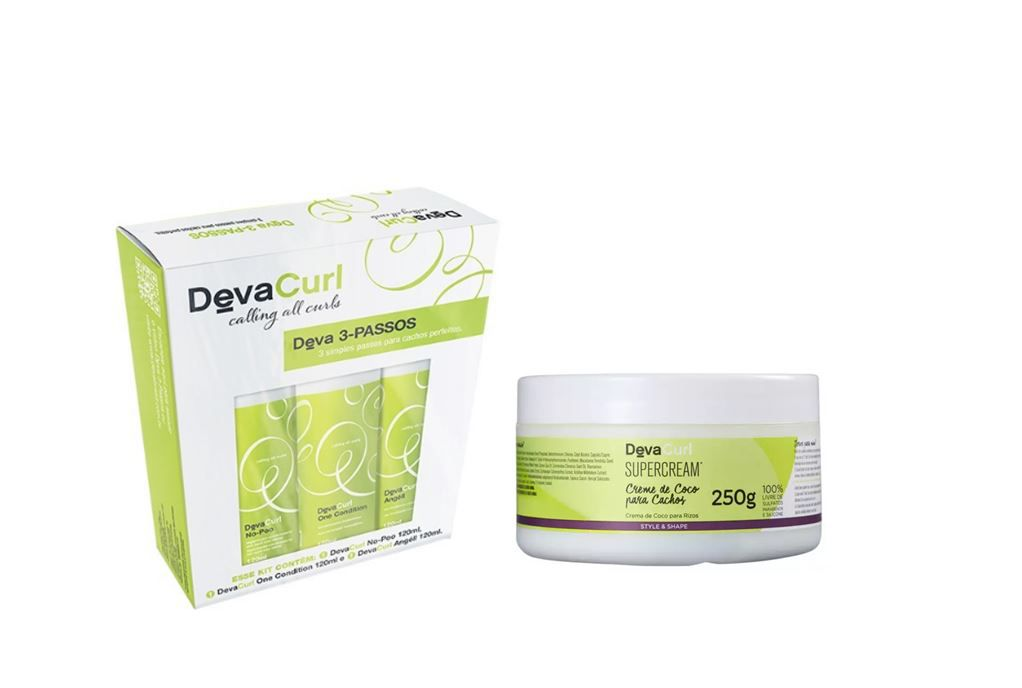Kit 3 passos 3x120ml + SuperCream 250ml Deva Curl
