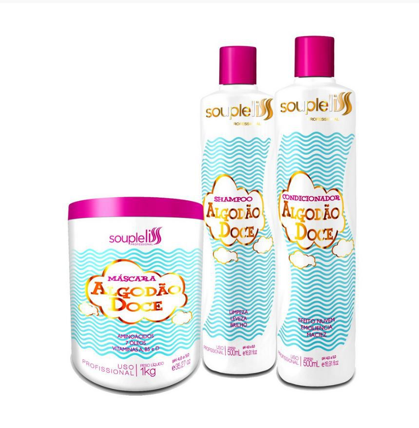 Kit Algodão Doce - Souple Liss Shampoo + Cond. + Máscara