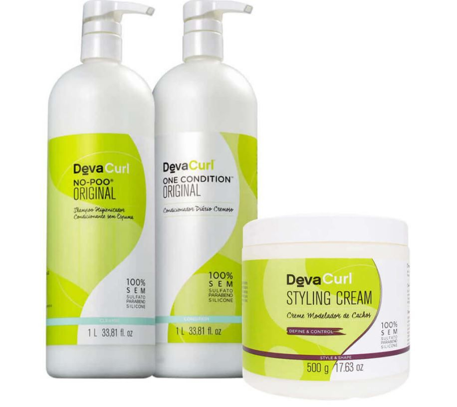 Kit Deva Curl No Poo 1L + One Condition 1L + Styling Cream 500g
