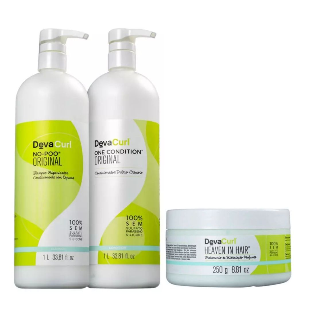Kit Deva Curl No-poo+ One Cond 2x1l + Mascara Heavem 250gr