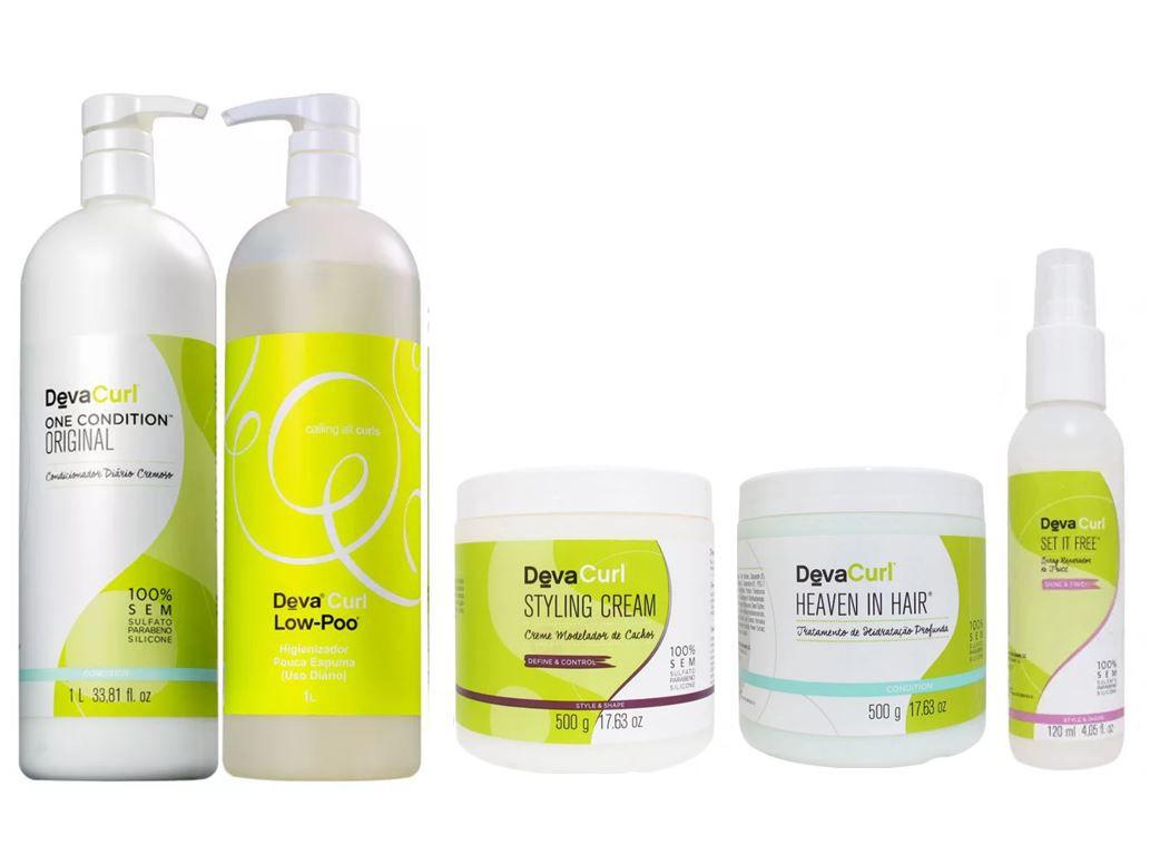 Kit Deva Curl  Shampoo + cond. + Heaven in Hair + Styling Cream  + 1 SET IT FREE (5 produtos)