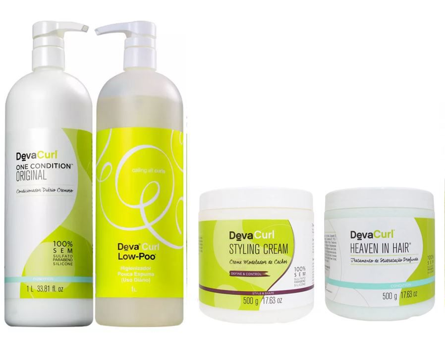 Kit Deva Curl  Shampoo + cond. + Heaven in Hair + Styling Cream (4 produtos)