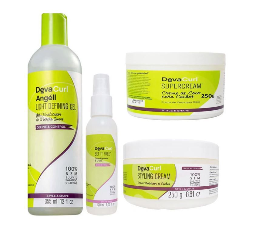 Kit Deva Curl Super Cream 250g + Styling Cream 250g + Spray Set It Free + Angell Finalizador ( 4 produtos)