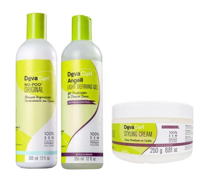 Kit Deva Shampoo No-Poo +Angéll Gel Finalizador Condicionante +Styling Cream Creme para Cachos