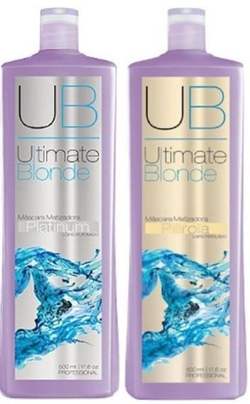 Kit Máscara Matizadora Ultimate Blonde UB 500ml EXO HAIR - Pérola + Platinum