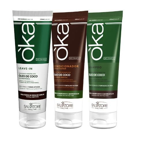 Kit Oka Óleo de Coco Shampoo 250ml e Condicionador 200ml Leave In 250ml
