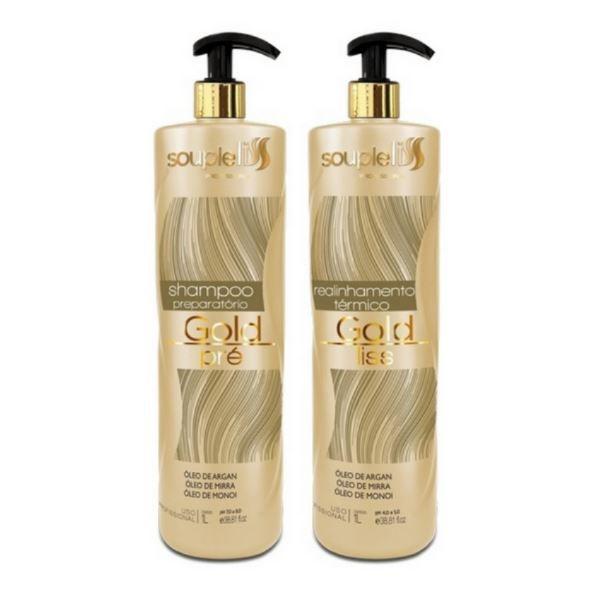 Kit Realinhamento Térmico Gold Liss - SoupleLiss 2x1000ml