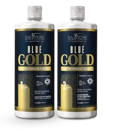 Progressiva Shampoo + Condicionador Alisante Blue Gold 1000 ml