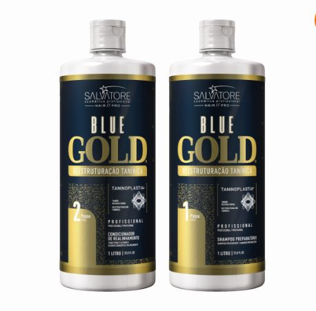 Kit Shampoo + Condicionador Alisante Blue Gold 1000 ml