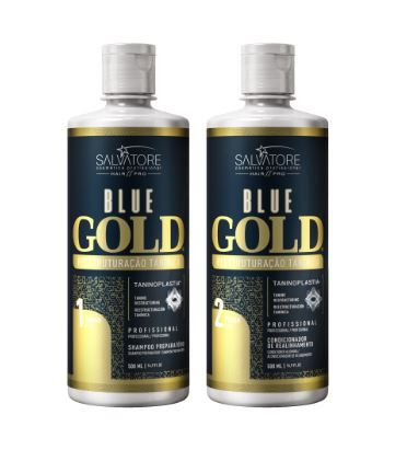 Kit Shampoo + Condicionador Alisante Blue Gold  500 ml