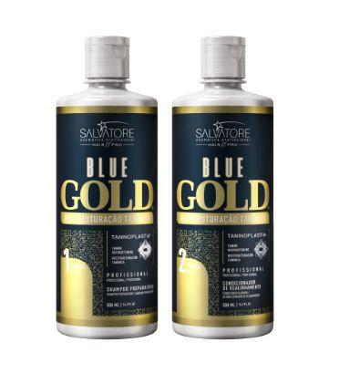 Kit Shampoo + Condicionador Alisante Blue Gold  500 ml