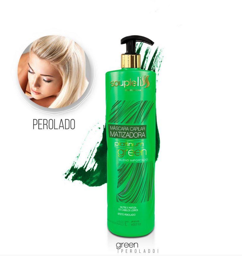 Máscara Matizadora Platinum Green - Pérola - SoupleLiss 1L