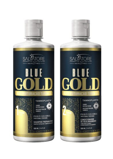 Progressiva Shampoo + Condicionador Alisante Blue Gold  500 ml