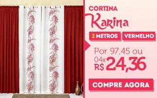 cortina quarto-sala var�o karina vermelho