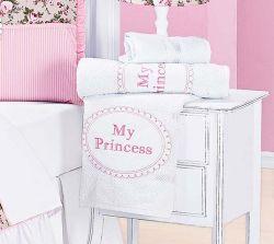 Jogo de Banho para Bebê 02 Peças - Coleção My Princess - 100% Algodão - Rosa