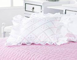 Almofada Avulsa Bordada Lacca - 100% Algodão 200 Fios - Branco / Rosa