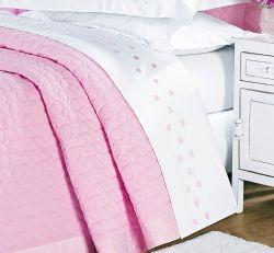 Jogo de Cama Casal King Lacca - 100% Algodão 200 Fios - 04 Peças - Branco/Rosa